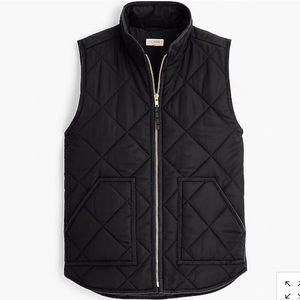 JCREW classic black quilted vest